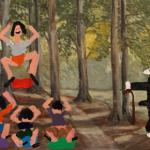 Yoga i det Fri 2014 Olie på lærred 34x46 cm
