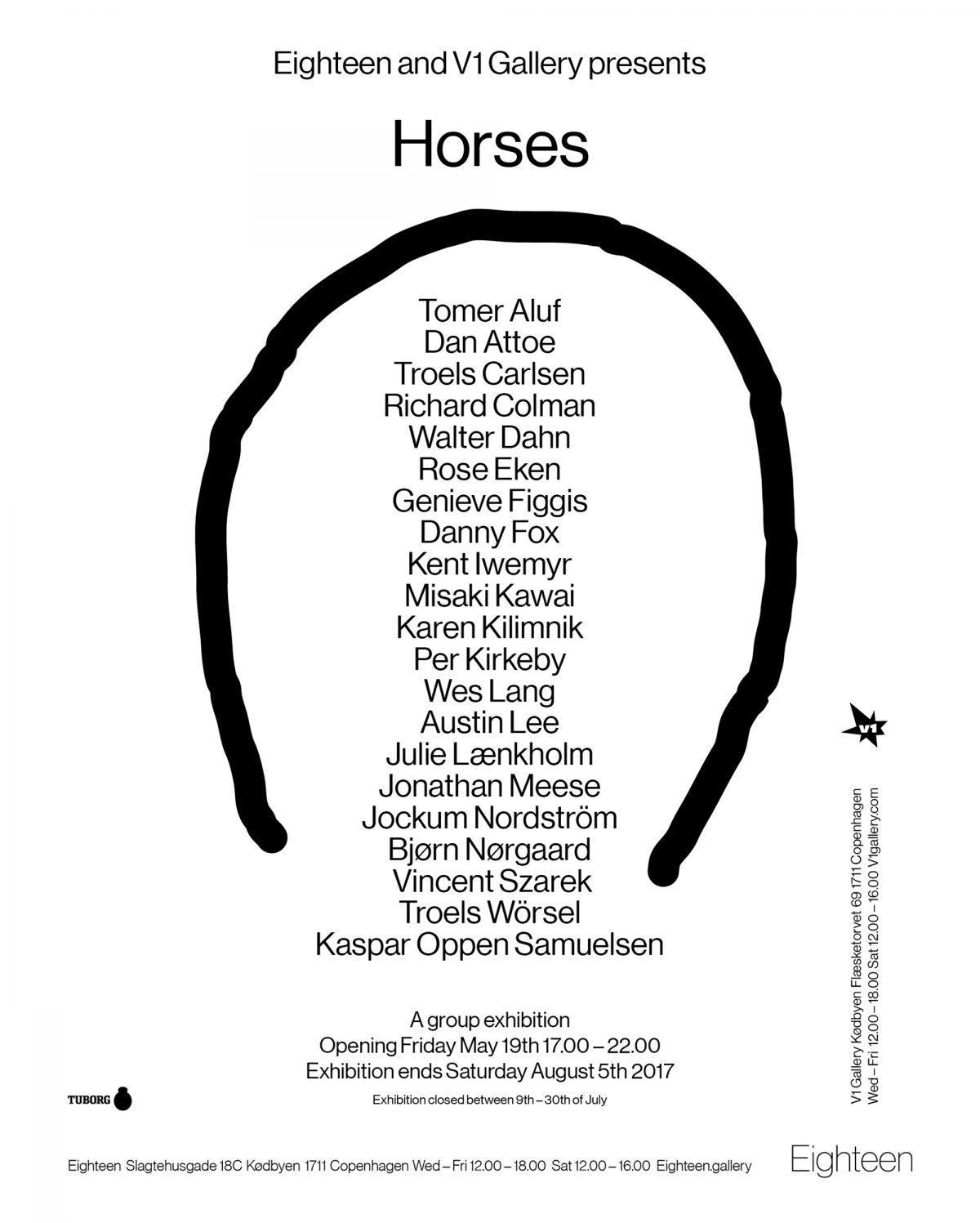 FERNISERING: HORSES. FREDAG DEN 19. MAJ FRA 17 – 22 I V1 GALLERY OG EIGHTEEN